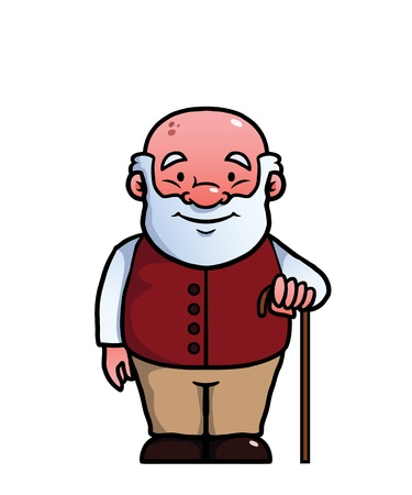 Illustration for Old man holding a cane and smiling. - Royalty Free Image