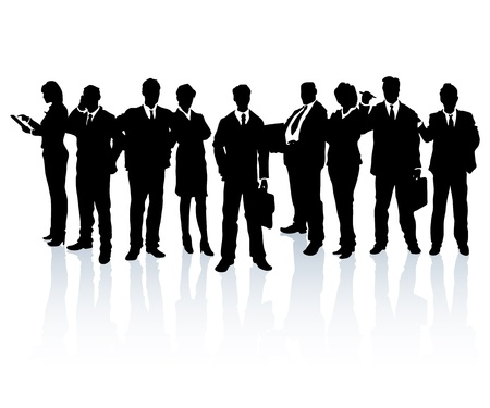 Illustration for Silhouettes of business people forming a team. - Royalty Free Image