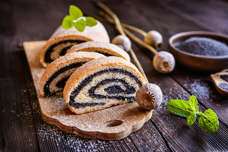 Photo pour Delicious poppy seed strudel sprinkled with powdered sugar - image libre de droit