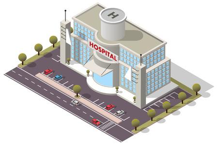 Illustration pour Vector isometric Hospital Building - image libre de droit