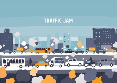Illustration pour Car traffic jam - freehand drawing vector Illustration - image libre de droit