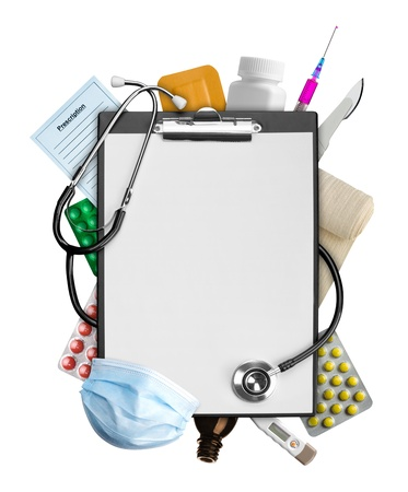 Photo for Empty clipboard with medical supplies - Royalty Free Image