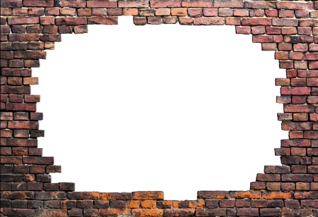 Old brick wall isolated in center