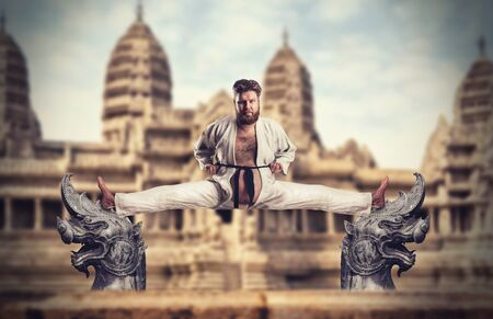 Fat karate fighter practicing against the temple