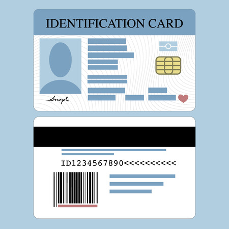 Ilustración de Illustration of front and back id card - Imagen libre de derechos