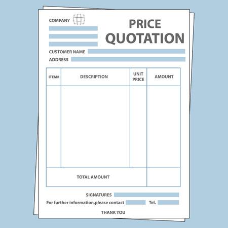Illustration pour Illustration of blank sale price quotation form - image libre de droit