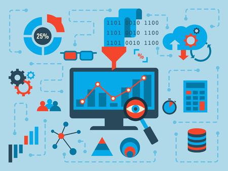 Ilustración de Illustration of data analysis concept, flat design with icons - Imagen libre de derechos