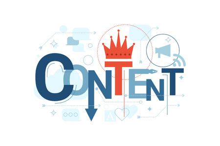 Ilustración de Illustration of content word typography in blue theme with red accent - Imagen libre de derechos