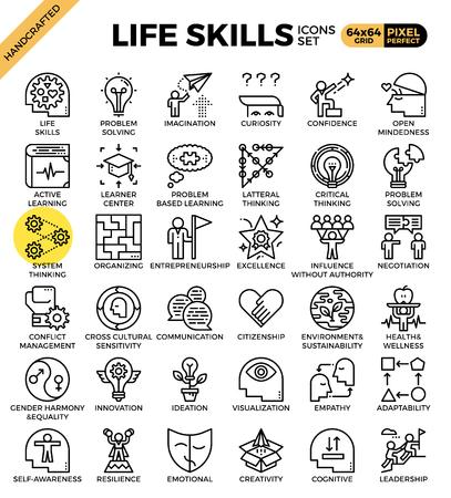 Illustration pour Life skills concept icons set in modern line icon style for ui, ux, website, web, app graphic design - image libre de droit