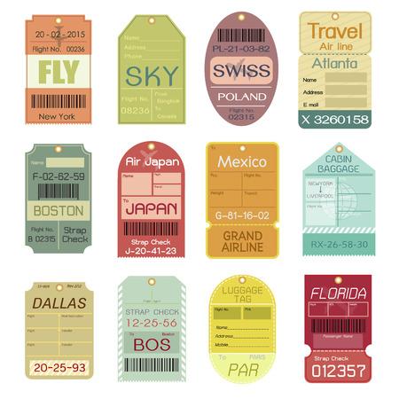 Ilustración de Set of Vintage Luggage Tags - Imagen libre de derechos