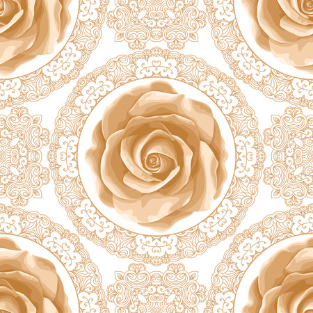 Ilustración de Vintage seamless pattern with roses and golden lace on white background. Vector illustration - Imagen libre de derechos
