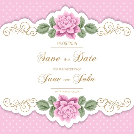 Ilustración de Vintage wedding invitation with roses and calligraphy frame on polka dot background. Save the date design. Vector illustration - Imagen libre de derechos