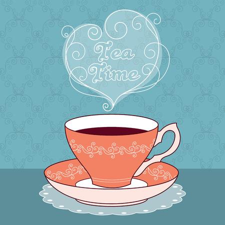 Ilustración de illustration of vintage tea cup with coffee or tea. Tea time text message. Greeting card or party invitation template - Imagen libre de derechos