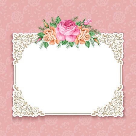 Ilustración de Invitation or greeting card template with roses in retro style. Vector Illustration - Imagen libre de derechos