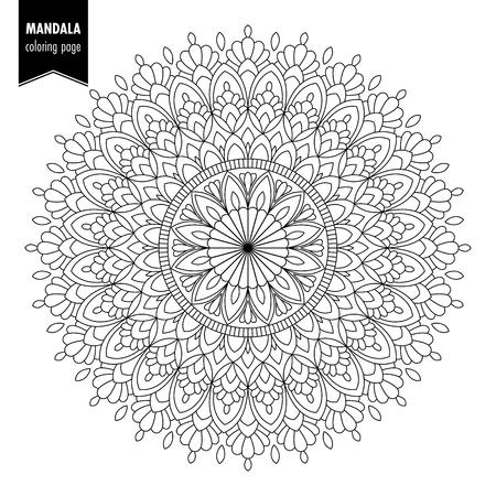 Illustration pour Monochrome ethnic mandala design. Anti-stress coloring page for adults. Hand drawn vector illustration - image libre de droit