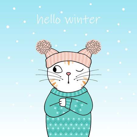 Illustrazione per Hello winter. Cute cartoon cat wearing a knitted hat and sweater. Hand drawn illustration - Immagini Royalty Free