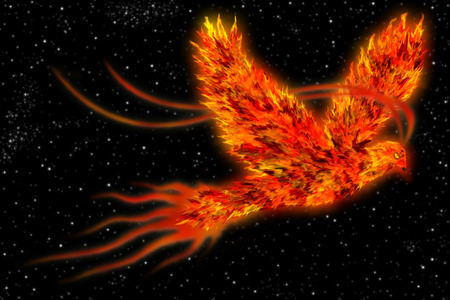 Photo pour An art of a mythological bird known as phoenix, a bird on fire flying in space. - image libre de droit