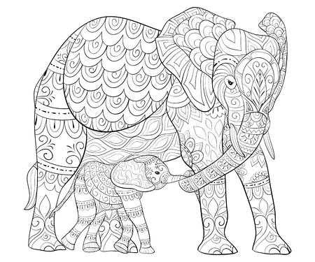 Illustration pour Adult coloring book, page for baby. - image libre de droit