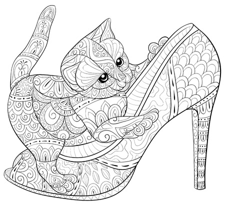 Illustration pour A cute little cat playing on the shoe  with zen ornaments for adults for relaxing activity.Zen art style illustration for print.Poster design. - image libre de droit