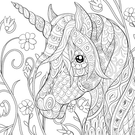 Illustration pour A cute  unicorn  with ornaments  image for relaxing.A coloring book,page for adults.Zen art style illustration for print.Poster design, - image libre de droit