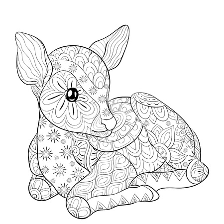 Illustration pour A cute little deer with ornaments  image for relaxing.A coloring book,page for adults.Zen art style illustration for print.Poster design. - image libre de droit