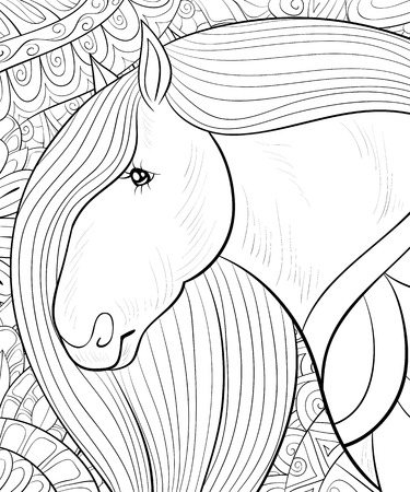 A cute horse  on the abstract floral background image for relaxing activity.A coloring book,page for adults.Zen art style illustration for print.Poster design.