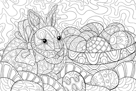 Illustration pour A cute Easter rabbit  near a basket with eggs on the abstract background with ornaments image for relaxing activity.A coloring book,page for adults.Zen art style illustration for print.Poster design. - image libre de droit