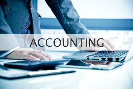 Foto de Man Analysis Business.  Accounting Label - Imagen libre de derechos