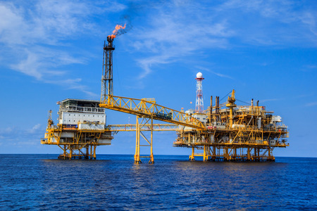 Photo for Offshore Industry oil and gas production petroleum pipeline. - Royalty Free Image