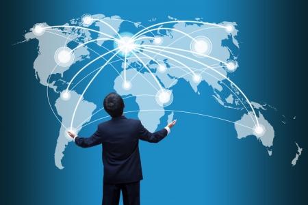Photo pour Businessman looking  social network structure - image libre de droit