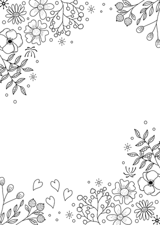 Ilustración de Flower frame coloring book for adult. doodle style.vector illustration. handdrawn. - Imagen libre de derechos