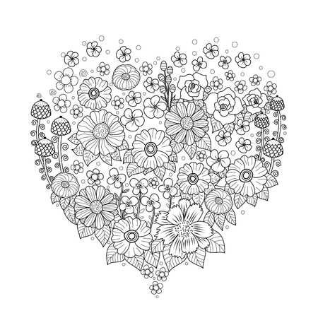 Illustration pour Coloring book page of flower heart for adult.Valentine's day. Vector illustration. Hand drawn. doodle style. - image libre de droit