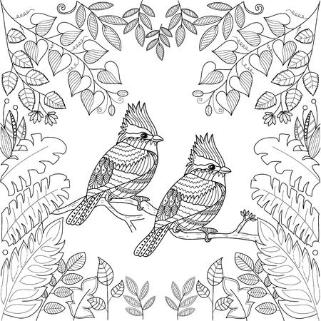 Illustration pour Tropical birds for adult coloring book page.stlyized.vector illustration. - image libre de droit
