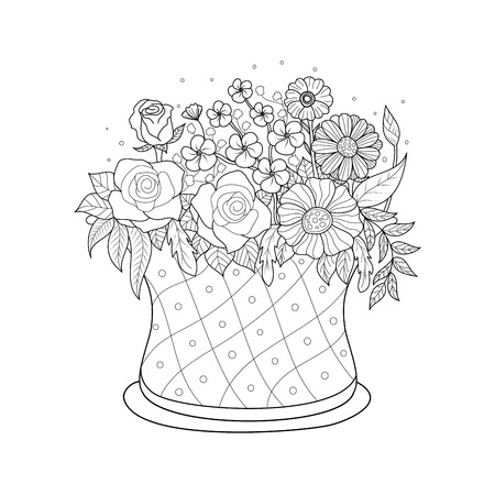 Illustration pour Coloring book page of flower basket for adult.Valentine's day. Vector illustration. Hand drawn. doodle style. - image libre de droit