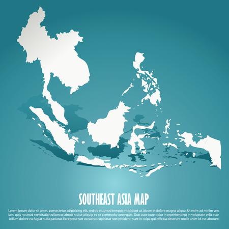 Illustration pour Southeast Asia map, AEC, Asean Economic Community map on green background, vector illustration - image libre de droit