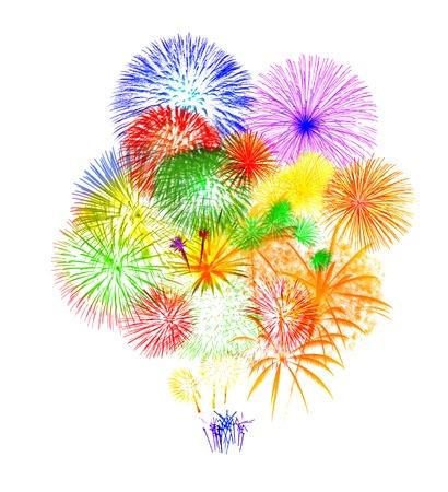Photo pour Fireworks on white background - image libre de droit