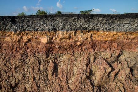Photo for The curb erosion from storms. To indicate the layers of soil and rock. - Royalty Free Image