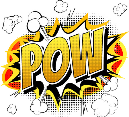 Illustration pour Pow  Comic book cartoon expression isolated on white background. - image libre de droit