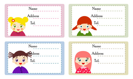Vector illustrated set of cute girl with name labels.