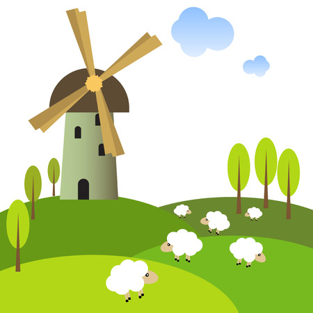 Illustration pour Illustration of a windmill on peaceful meadow with sheep - image libre de droit