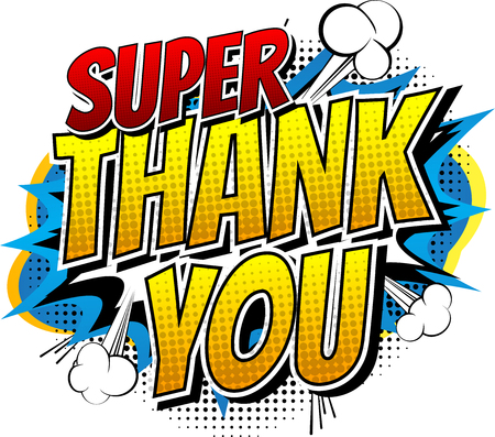Illustration pour Super Thank You - Comic book style word isolated on white background. - image libre de droit