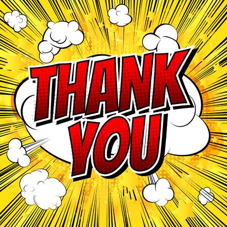 Ilustración de Thank You - Comic book style word on comic book abstract background. - Imagen libre de derechos