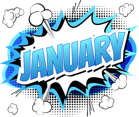 Illustration for January - Comic book style word on comic book abstract background. - Royalty Free Image