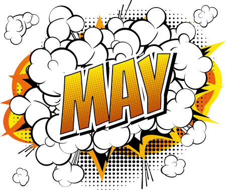 Ilustración de May - Comic book style word on comic book abstract background. - Imagen libre de derechos