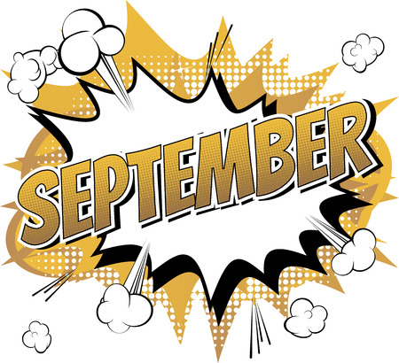 Ilustración de September - Comic book style word on comic book abstract background. - Imagen libre de derechos