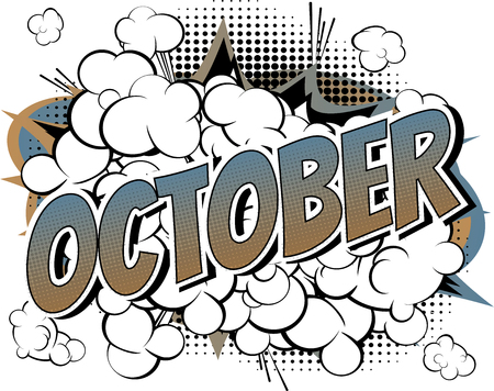 Ilustración de October - Comic book style word on comic book abstract background. - Imagen libre de derechos