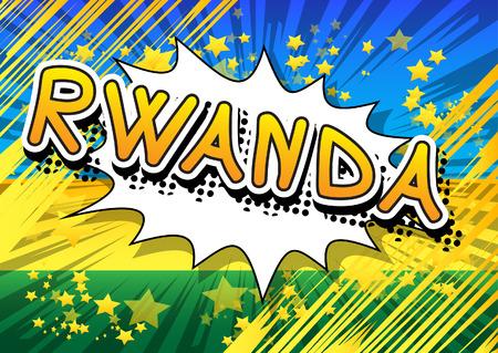 Illustration pour Rwanda - Comic book style text. - image libre de droit