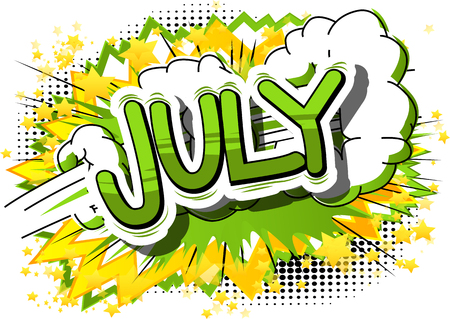 Illustration pour July - Comic book style word on abstract background. - image libre de droit