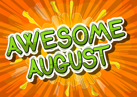 Illustration pour Awesome August - Comic book style word on abstract background. - image libre de droit