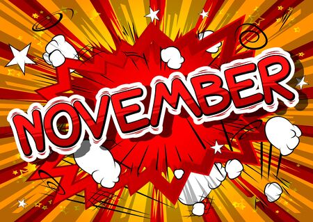 Illustration pour November - Comic book style word on abstract background. - image libre de droit